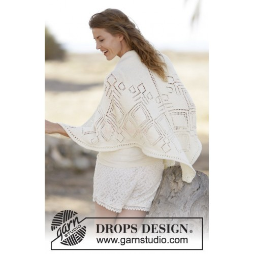 Summer Diamond Shawl by DROPS Design One-size DROPS COTTON MERINO