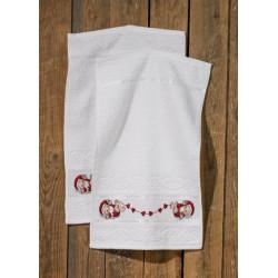 Gæstehåndklæder, hjerte nisser, 2 stk i pk, 30 cm x 50 cm
