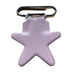 Stjerne seleclips i metal. lyserød/sølv - 1 stk