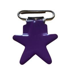 Stjerne seleclips i metal. violet/sølv - 1 stk