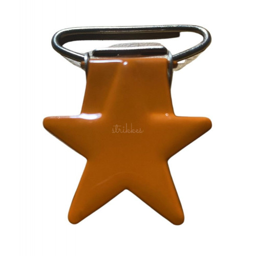 Stjerne seleclips i metal. orange/sølv - 1 stk