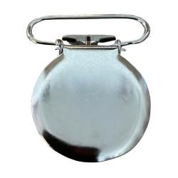 Rund seleclips i metal. sølv - 1 stk