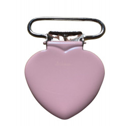 Hjerte seleclips i metal, lyserød/sølv - 1 stk