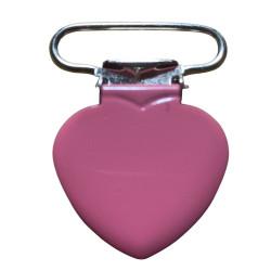 Hjerte seleclips i metal, pink/sølv - 1 stk