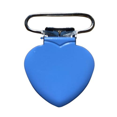 Hjerte seleclips i metal, himmelblå/sølv - 1 stk