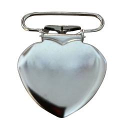 Hjerte seleclips i metal, sølv - 1 stk