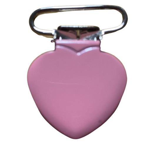 Hjerte seleclips i metal, mørk lyserød/sølv - 1 stk
