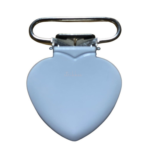 Hjerte seleclips i metal, hvid- 1 stk