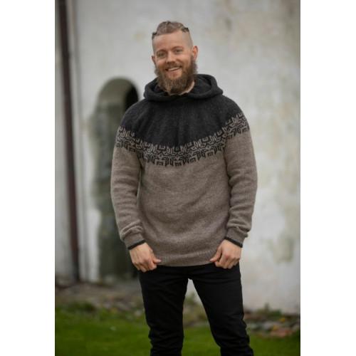 """""""Hod"""" Genser med hætte - Viking Design 2127-9B Kit - XS-XXXL - Viking Eco Highland Wool"""