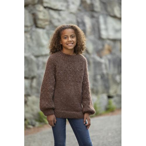 """Aluna"" Genser - Viking Design 2128-9 Kit - 2-12 År - Viking Alpaca Picasso Tweed og Viking Kid-Silk"