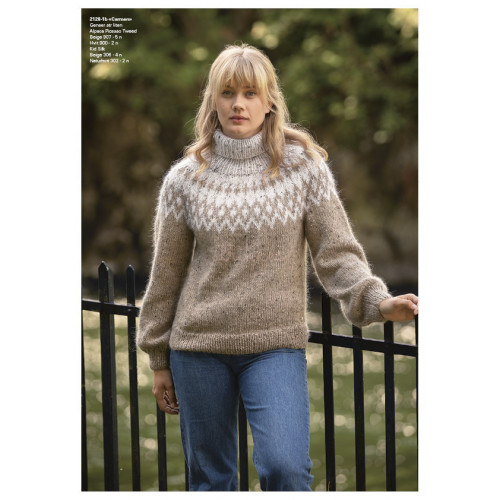 """Carmen"" Genser - Viking Design 2128-1B Kit - XXS-XXXL - Viking Alpaca Picasso Tweed og Viking Kid-Silk"
