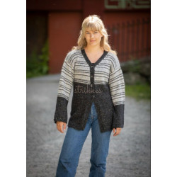 """Tekla"" Jakke - Viking Design 2128-14 Kit - XS-XXXL - Viking Alpaca Picasso Tweed og Viking Kid-Silk"