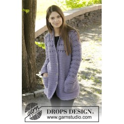 Image of   Lavender touch cardigan by drops design s-xxxl drops nepal garn
