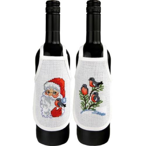 Flaskeforklæder, Nisse og dompap, 2 stk i pk, 10 cm x 15 cm