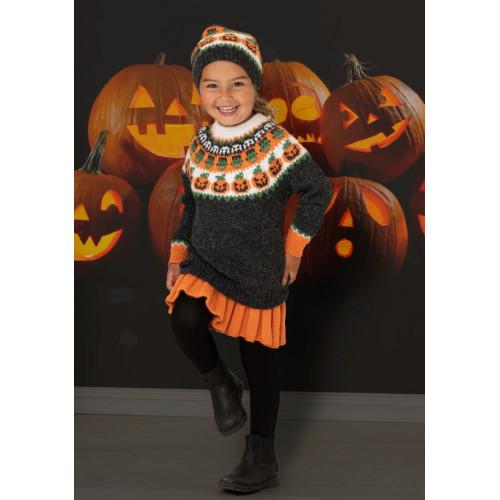"""""""Halloween"""" Genser, hue og nederdel - Viking Design 2131-2B Kit - 2-12 År - Viking Alpaca Storm"""