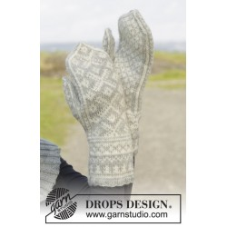 Image of   Silver dream mittens by drops design one-size drops karisma garn