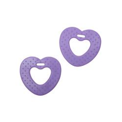 Bidering soft TPE-materiale, hjerter, 6,8 cm, lilla. 2 stk
