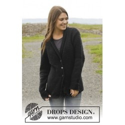 Image of   Black pearl by drops design s-xxl drops cotton merino garn cardigan