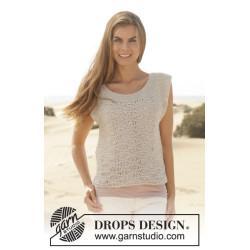 Amanda by DROPS Design XS-XXXL. Tøjet vil vokse ca 5 cm i længden efter vask. DROPS BOMULL-LIN/DROPS PARIS