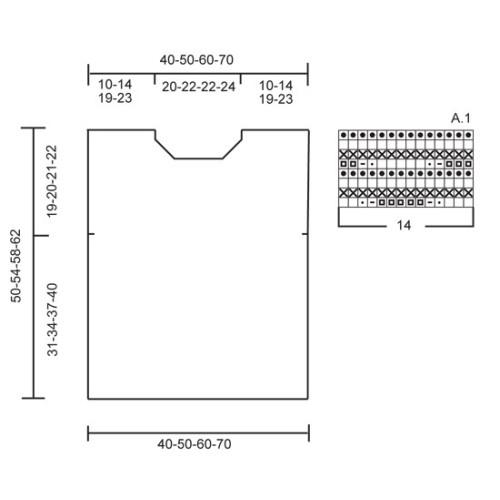 Amanda by DROPS Design XS-XXXL. Tøjet vil vokse ca 5 cm i længden efter vask. DROPS BOMULL-LIN