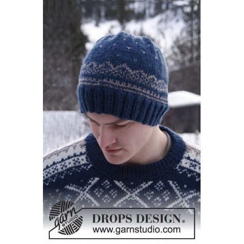 Nordic Midnight Hat by DROPS Design - Extra 0-810 - S-XL DROPS KARISMA