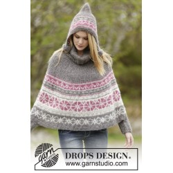 Image of   Sweet winter poncho by drops design s-xxxl drops melody garn