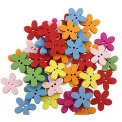 Blomster træknapper, Pose med 20 blandede farver 15mm