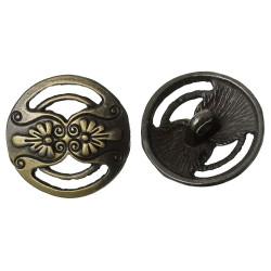 Metalknap antik bronze. Pose med 5 antikke bronzeknapper, 2 blomster mod hinanden 17mm