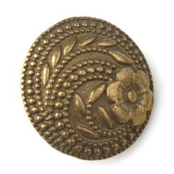 Metalknap bronze, Pose med 5 bronzeknapper, enkelt blomst 17mm