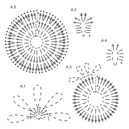 Cassiopeia by DROPS Design Stor cirkel: 8 cm i diameter. Lille cirkel: 5 cm i diameter DROPS COTTON VISCOSE