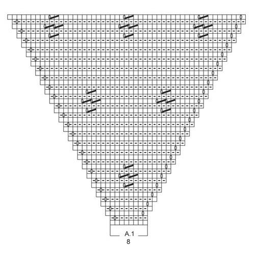 Azalea by DROPS Design Bredde øverst: ca 140 cm, længde midt bagpå: ca 70 cm DROPS BRUSHED ALPACA SILK