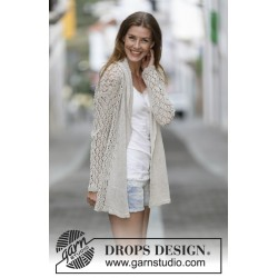 Image of   Lace affair by drops design s-xxxl drops bomull-lin garn cardigan