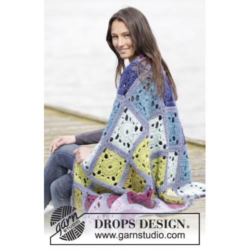 Cool Summer Evening by DROPS Design En rude måler 18 x 18 cm, tæppet måler ca 90 x 144 cm. DROPS ESKIMO
