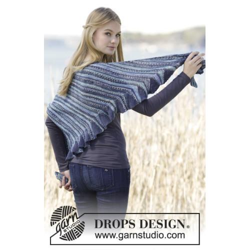 Eurydice by DROPS Design Sjalet måler ca 140 cm langs aflukningskanten. DROPS FABEL