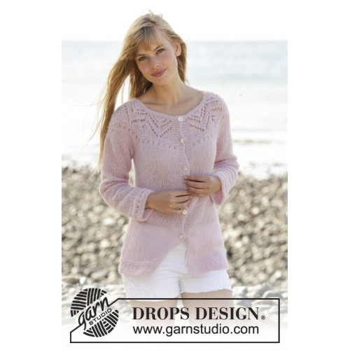 Pink Connection Cardigan by DROPS Design S-XXXL DROPS BRUSHED ALPACA SILK