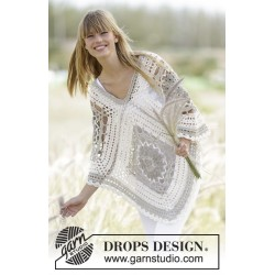 Image of   Midsummer joy by drops design one-size drops bomull-lin garn poncho