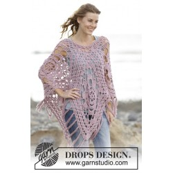 Image of   Rhapsody in rose by drops design one size. drops belle garn poncho