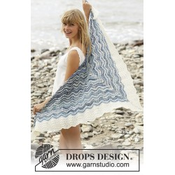 Image of   Mer bleue by drops design one-size drops fabel garn sjal