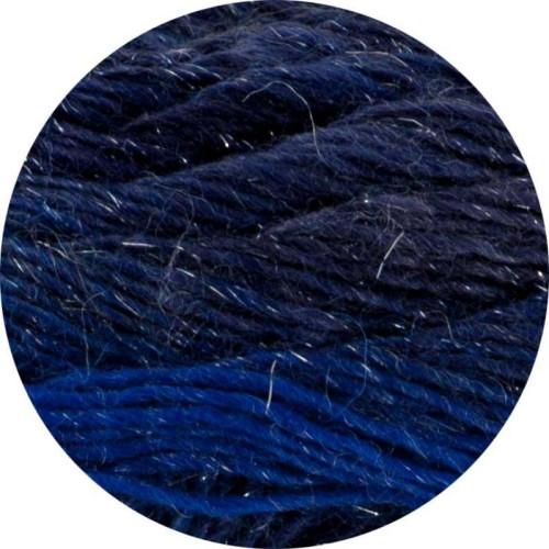Lang Yarns Mille colori soks & lace luxe, farve 35 blå nuancer med sølv glimmer, 100g