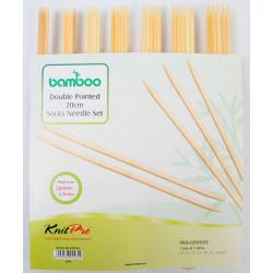 Bambus strømpepinde sæt med 7 størrelser 2mm - 5 mm, 20 cm, KnitPro