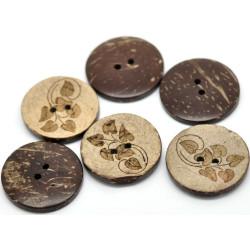 Kokosnød knap med bladmotiv. Pose med 5 knapper, 28mm