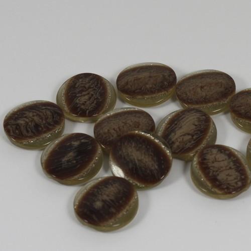 12 stk knapper med brun midte og glimmerkant, 18mm