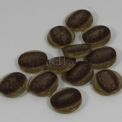 12 stk knapper med brun midte og glimmerkant, 17mm