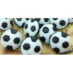 Fodbold knapper i sort/hvid. Pose med 10 plastik knapper, 13mm
