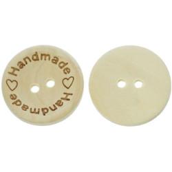 """Træknap natur med tekst """"Handmade"""". Pose med 8 knapper, 25mm"""