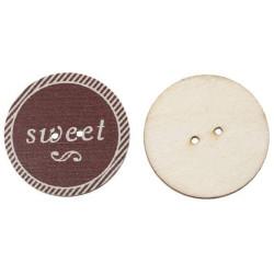 """Kaffe træknap med tekst """"sweet"""", Pose med 8 knapper, 30mm"""