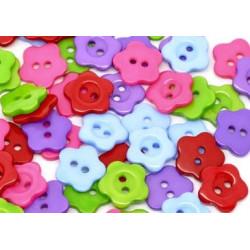 Blomster plastknapper, Pose med 15 blandede farver 14mm