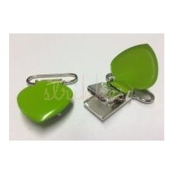 Lime farvet hjerte seleclips i metal - 1 stk