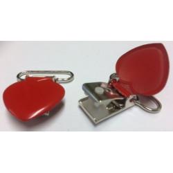 Hjerte seleclips i metal, rød - 1 stk
