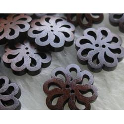 Udskåret blomst, mørkebrun træknap, Pose med 10 knapper. 20mm